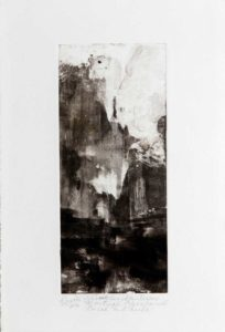 Abyme des hauteurs - Monotype, encre à l'huile - 9 cm x 21 cm