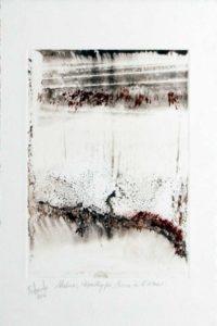 Le skieur - Monotype, encre à l'eau - 14 cm x 19,5 cm